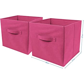 2 x Foldable Large Square Canvas Storage Box Collapsible Fabric Cubes Kids Pink