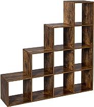 VASAGLE boekenkast, trappenorganisator, 10 open kubussen, houten vitrine, gratis staande plank