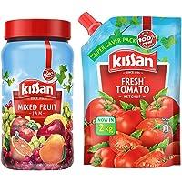 Kissan Mixed Fruit Jam, 1 kg + Kissan Fresh Tomato Ketchup, 2 kg