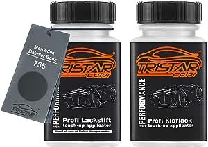 Tristarcolor Autolack Lackstift Set Für Mercedes Daimler Benz 755 Tenoritgrau Metallic Steel Grey Metallic Basislack Klarlack Je 50ml Auto