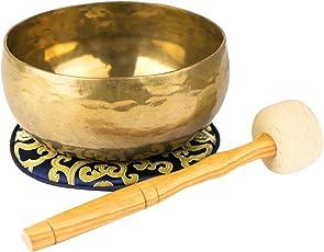 Nepal-Klangschale mit Klöppel und Unterlage, Gewicht 500-600g, hergestellt nach traditionellem Verfahren, handgehämmert -1058-L