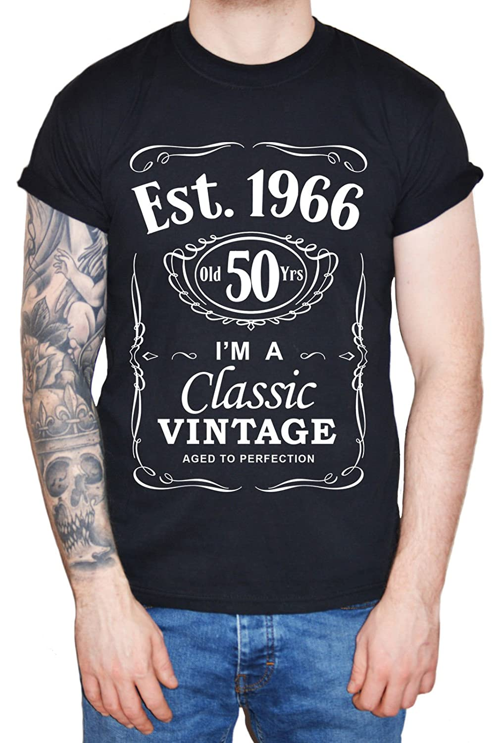 DanyTech Mens 50th Birthday Present Men T Shirt Est 1966 Vintage Man Fiftieth 50 Years Funny Gift Amazoncouk Clothing