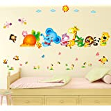 Decals Design 6900048 StickersKart Wall Stickers Kids Room Happy Cute Elephant Monkey Cartoon Animals for Baby Room…