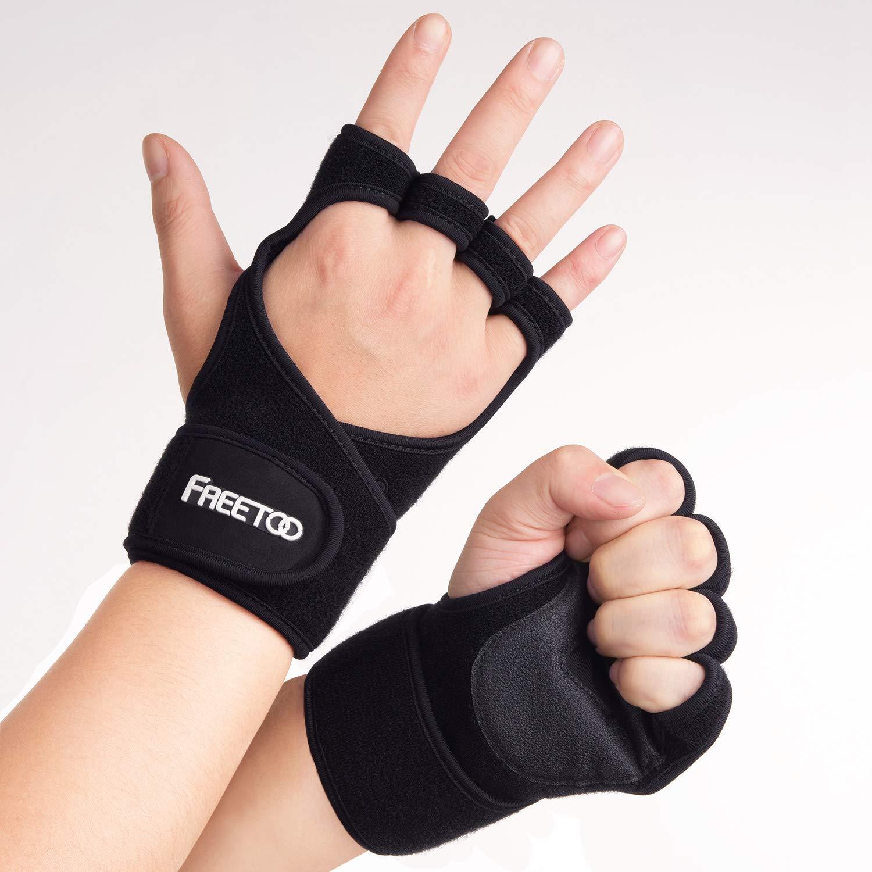 3574ab6462ec99 FREETOO Fitness Handschuhe Trainingshandschuhe Handgelenkstütze Rutschfest  und Atmungsaktiv Sporthandschuhe für Kraftsport Krafttraining Gewichtheben  ...