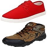 Earton Men's Stylish & Trendy Combo Canvas Sneakers (COMBO-1077+606_$p)