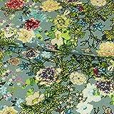 Viskose Leinen Stoff bunte Blumen jeansblau Modestoffe