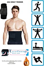 ADA Ab Belt Trimmer for Weight Loss Faster / Sweat Enhancer Exercise Workout belly belt / Adjustable Wrap Provide Stomach, Low Back, Abdominal Muscle & Back Support / Belly Tummy Yoga Wrap Black Exercise Body Slim look Belt Free Size - Black