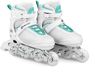 HS HOP-SPORT Hop-Sport 3in1 Inliner Inlineskates/Roller/Triskates für Damenr/Verstellbar/Farbe: Weiss-Mint - L 38-41