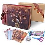 POOTACK Album Fotografico Fai da Te, Our Adventure Book Scrapbook DIY(19x30cm, 80 Pagine) con Penne Colorate, Forbici, Fascia
