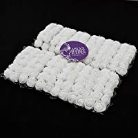 Asian Hobby Crafts Artificial Foam Flowers Roses (1.5 cm, White) -144 Pieces