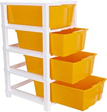Joyful Studio 4 Plastic Modular Drawer System, Orange Colour by DFO (Dimension 310 * 390 * 675 MM as per Lable from manufaturer on The Product Packing)