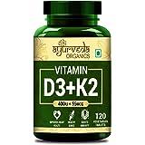 Ayurveda Organics Vitamin D3 400IU with K2 As Mk7 55Mcg Supplement - 120 Veg Tablets