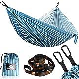 NATUREFUN Hamac Ultra-léger de Voyage Camping | 300 kg Capacité de Charge,Respirante, séchage Rapide | 2 x Mousquetons de qua