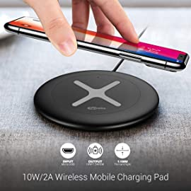 Renewed  Portronics Toucharge X POR 896 10W/2A Wireless Mobile Charging Pad  Black