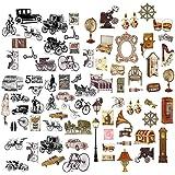 Feelairy 120 Pcs Scrapbooking Autocollants Stickers Vélo Vintage Motif Déco Autocollants pour Album Photo Bullet Journal Scra