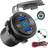 Quick Charge 3.0 USB-Stopcontact Auto Met Schakelaar, 12 V/24 V Autolader USB-Inbouwbus Waterdicht Sigarettenaansteker Met Bl
