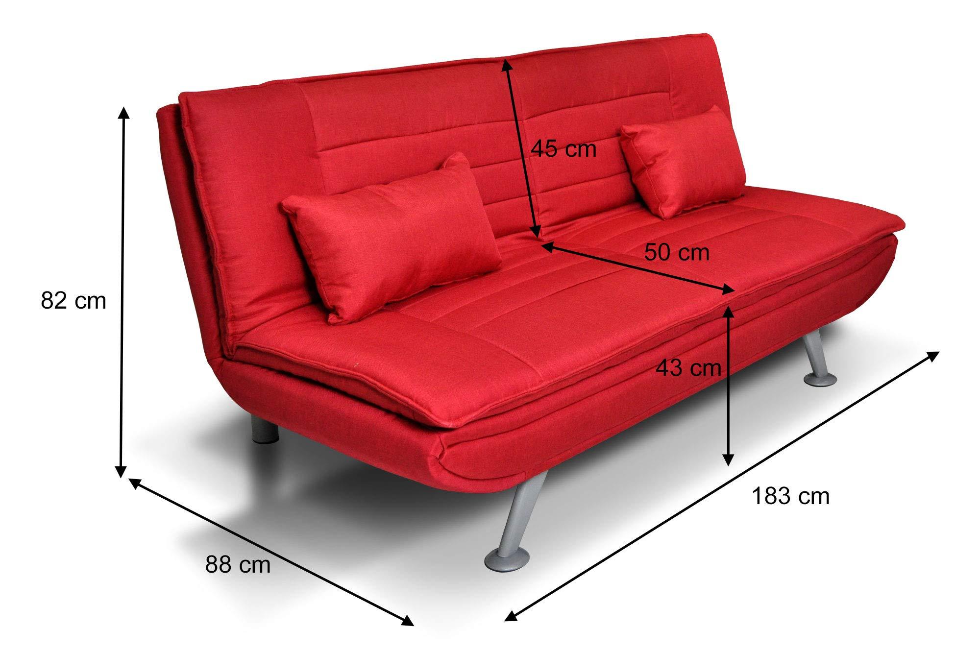 Divano letto clic clac in tessuto rosso divano 3 posti - Divano letto 2 posti amazon ...