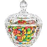 Clear//Transparent Cut Glass Round Bonbon Dish Jar Candy Box Bowl With Lid