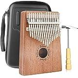 Kalimba Thumb Piano 17 touches avec bois d'acajou et boîte de protection Portable Mbira Finger Piano Gifts pour enfants et dé