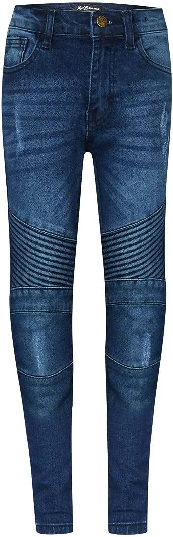 A2Z 4 Kids/® Bambini Ragazzi Elastico Jeans Mid Blu Progettista Strappato Ginocchio Drappo Pannello Denim Pantaloni Moda Sottile Fit Pantaloni Et/á 5-13 Anni