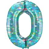 Folat - Foil Balloon Number 0 Galactic Aqua - 101 cm