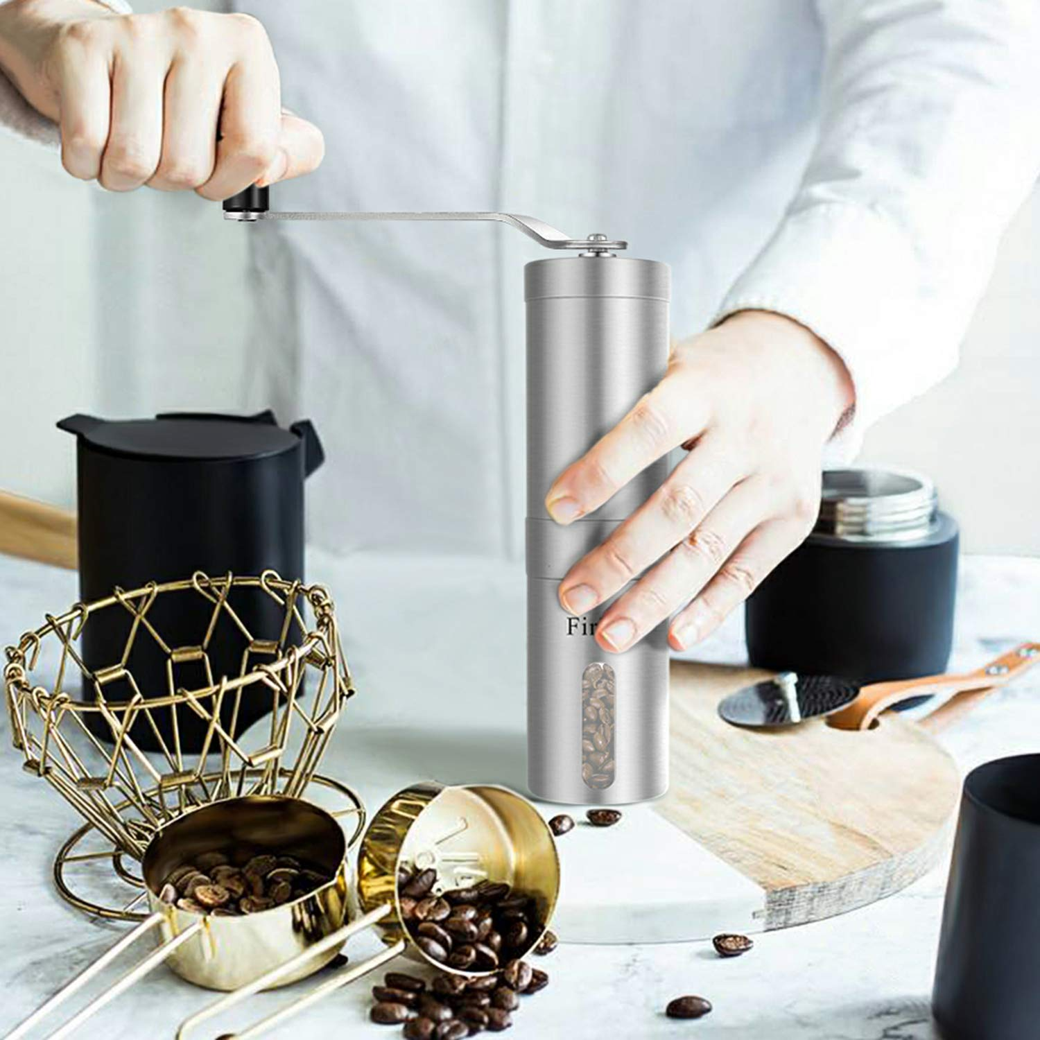 Firlar-Premium-Manual-Coffee-Grinder-Stainless-Steel-Body-Adjustable-Ceramic-Conical-Burr-Hand-Crank-Mill-Grinds-Beans-Spices-Brushed