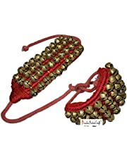 Prisha India Craft 4 Line Big Bells Ghungroo Pad (Red, 16 No. Ghungroo)
