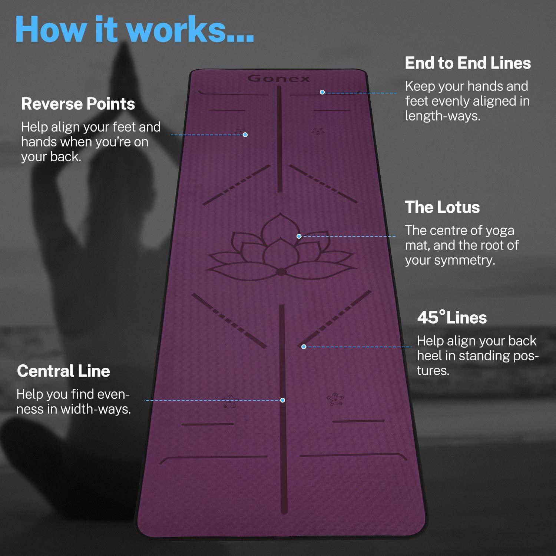 /Épaisseur 6MM Antid/érapant Durable Tapis Gym pour Exercices 183x61x0.6 cm Gonex Tapis de Yoga Pilates avec Lignes dAlignement du Corps,TPE Mat/ériaux