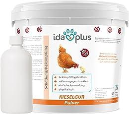 Ida Plus - Kieselgur (12 Liter) - Kieselerde Pulver für Hühner, Pferde & Hunde, Diatomeenerde als Mittel Gegen Vogelmilben, Ameisen & Insekten, inkl. Puderflasche