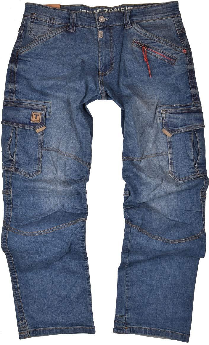 Timezone Herren Cargo Jeans Hose Benito Blau