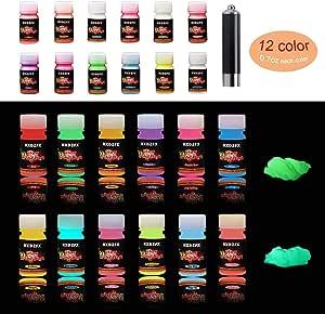 Hxdzfx Epoxy Resin Fluorescent Powder Epoxy Resin Pigment Glowing Neon Powder Colour Powder 11 34 G Per Package Uv Lamp Küche Haushalt