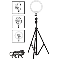 Prolite 10 inch LED Ring Light with 9 feet Light Stand & Mobile Holder   3 Natural Color Modes   Brightness Control…