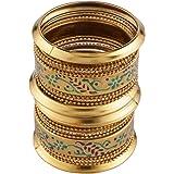 Jewel Pari Stylish Fancy Antique Boho Oxidised Gold Plated Crystal Meenakari Bangle Set (18 pc)