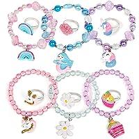 vamei 12PCS Coloré Bracelets Fille Bracelets en Perles Fille Licorne Sirène Bracelets Bijoux Bague Enfants Tressé…