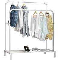 UDEAR Porte-vêtements, Porte-vêtements Multifonctionnel, Porte-Manteaux à Deux Pôles, Blanc