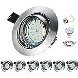 Spot LED Encastrable Orientable GU10 Kimjo 6W Blanc Neutre 4000K, Spot Encastré 550lm Equivalente de 50W 230V IP23 Rond Métal