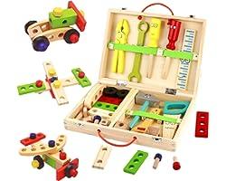 Cassetta Set Attrezzi da Lavoro Bambini-Attrezzi da Lavoro Cassetta Costruzioni Giochi in Legno Tavolo da Lavoro per Bambini,