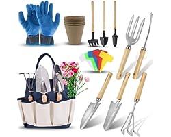 DEWINNER Gardening Tools Set - 23 Piece Heavy Duty Garden Tools Set Includes Gloves Hold Bag for Men Or Women