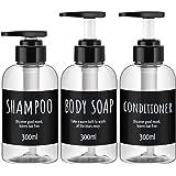 Flacone dosatore shampoo, Segbeauty 3 pezzi 10,1 once / 300 ml Dispenser flacone pompa in plastica, Flaconi pompa shampoo riu