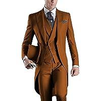Lilis® Premium Herren Tail Tuxedo 3pc Frack Anzug in Grau Schwarz Anzugjacke, Weste, Anzughose