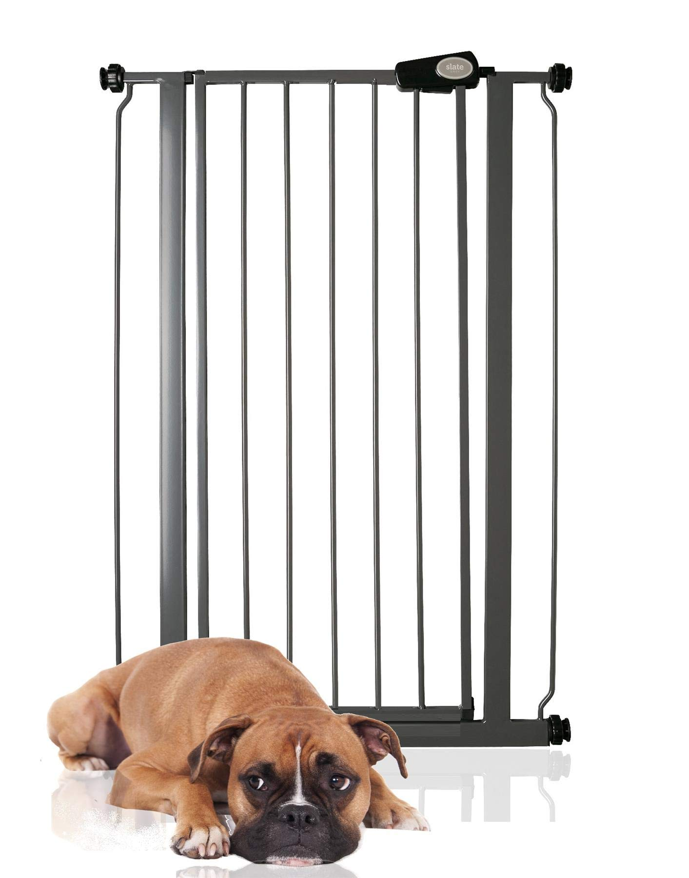 Bettacare Child and Pet Gate Range 75cm - 147.5cm (68.5cm - 75cm, Slate Grey) Bettacare Pressure Fitted White Metal Gate Double Locking Mechanism 1