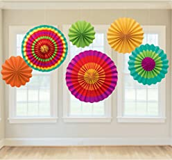 PrettyurParty Fiesta Fan Decorations (Multicolour) - Pack of 6