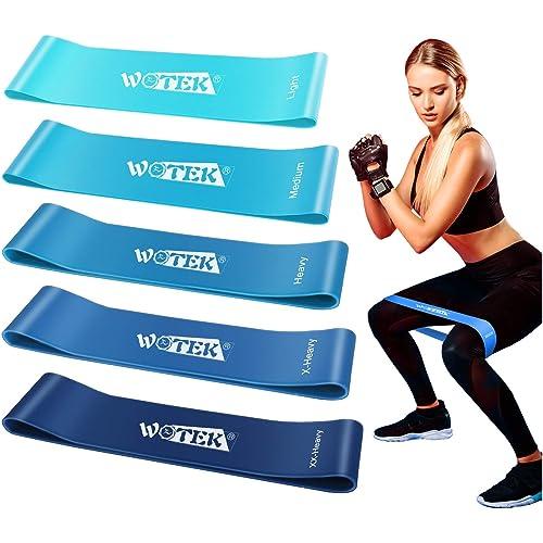 WOTEK Elastici Fitness, Bande di Resistenza Fitness Fasce Elastiche di Lattice con 5 Livelli di Resistenza per Fitness, Yoga, Crossfit, Allenamento di Forza, Riabilitazione Fisico e Bodybuilding