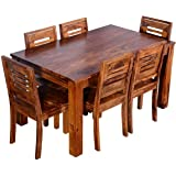 Furinno Sheesham Wood 6 Seater Dining Table Set with Chairs for Living Room  Teak Finish