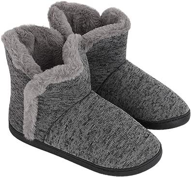 Pantofole invernali soffici in peluche per uomini adolescenti ragazzi spessi termici a maglia camera da letto casa pantofole stivaletti interni esterni antiscivolo stivali alti tira su scarpe