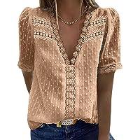 Buetory Women's Elegant V Neck Lace Crochet Tunic Tops Casual Loose Short Sleeve Vintage Lace Flowy Shirts Blouse