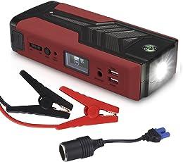 500A 18000mAh Tragbare Auto Starthilfe Autobatterie Anlasser Jump Starter fremdstarten mit starthilfekabel LED Taschenlampe Kompass für 6.5L Benzin 5.0L Diesel Laptop Smartphone Tablet usw