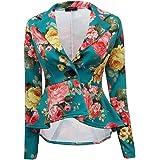 Giacca blazer da donna, elasticizzata, a peplo, con orlatura e un bottone