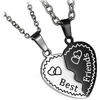 Flongo Collana dell'amicizia, con ciondolo Best Friends, 2 pezzi, in acciaio inox, collana dell'amicizia, a forma di…