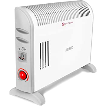 Duronic Convector Heater HV120 | 2kW/2000w | Electric | Convection Heating | Adjustable 3 Heat Settings 750/1250 / 2000w | Turbo Fan | Thermostat | Wall Mounted or Free Standing | Oil-Free Radiator